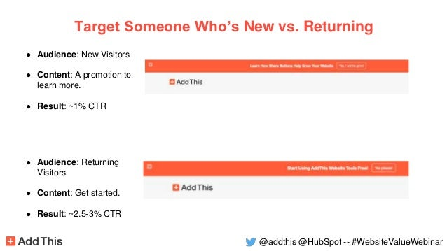 ● Audience: New Visitors ● Content: A promotion to learn more. ● Result: ~1% CTR vs . Target Someone Who's New vs. Returni...