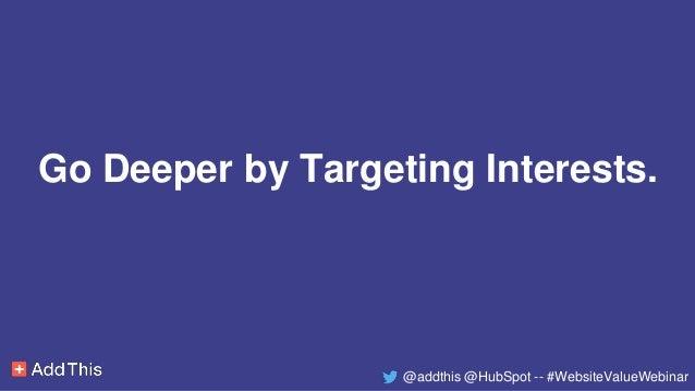 Go Deeper by Targeting Interests. @addthis @HubSpot -- #WebsiteValueWebinar