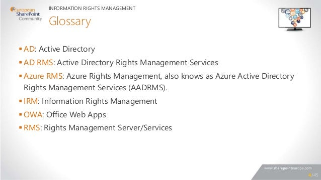 related topics conclusions 4 glossary ad active directory ad rms active directory rights management