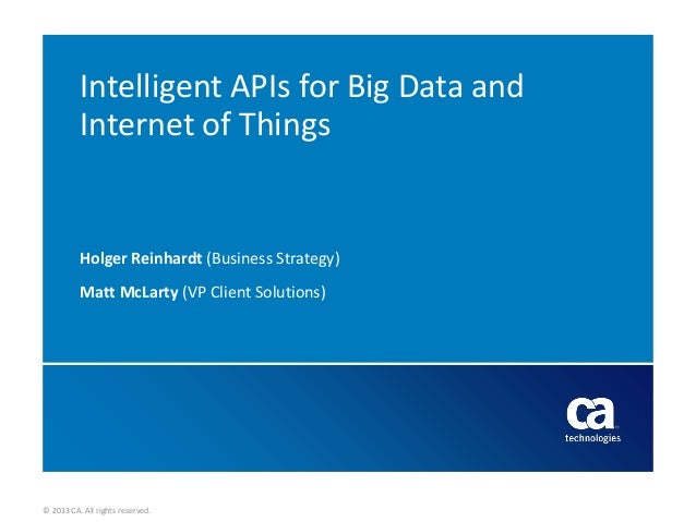 Intelligent APIs for Big Data and Internet of Things  Holger Reinhardt (Business Strategy) Matt McLarty (VP Client Solutio...