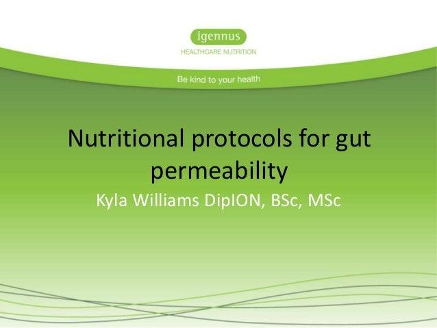 Nutritional protocols for gut  permeability  Kyla Williams DipION, BSc, MSc
