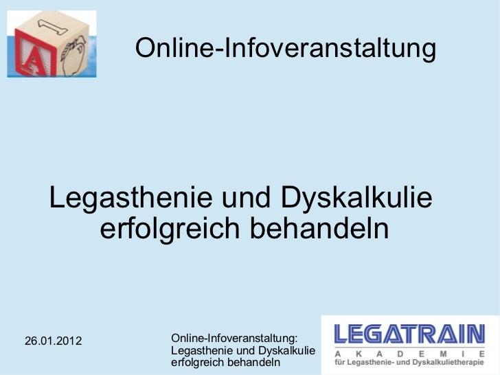Online-Infoveranstaltung Legasthenie und Dyskalkulie  erfolgreich behandeln