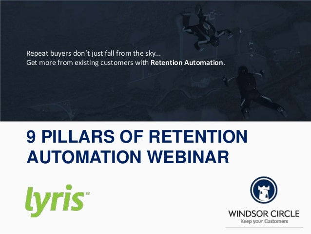 9 PILLARS OF RETENTION AUTOMATION WEBINAR Repeat buyers don't just fall from the sky... Get more from existing customers w...