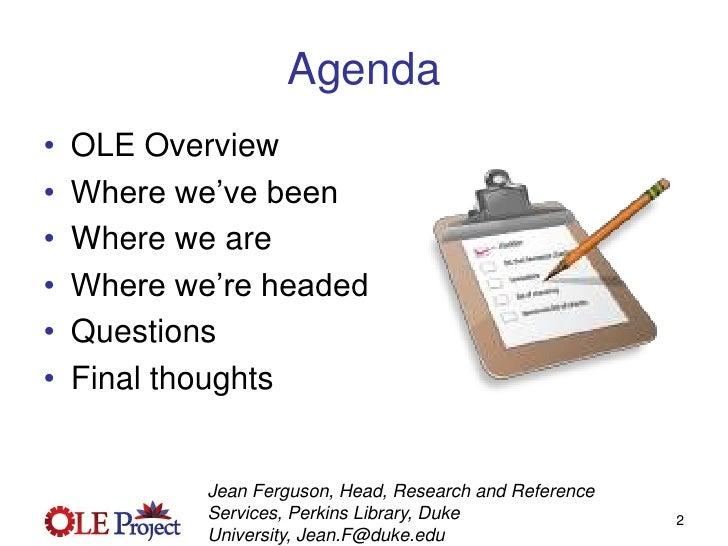 OLE Project Update - Webinar  March 31 2009 Slide 2