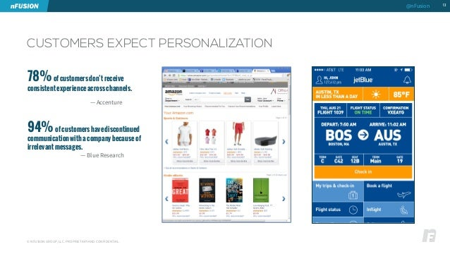 CUSTOMERS EXPECT PERSONALIZATION  © NFUSION GROUP, LLC. PROPRIETARY AND CONFIDENTIAL.  13  78% of customers don't receive ...
