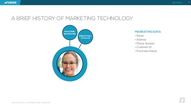A BRIEF HISTORY OF MARKETING TECHNOLOGY  5  © NFUSION GROUP, LLC. PROPRIETARY AND CONFIDENTIAL.  MARKETING DATA  • Name  •...