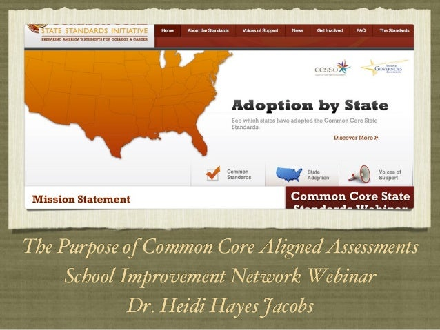 1!The Purpose of Common Core Aligned Assessments!School Improvement Network Webinar !Dr. Heidi Hayes Jacobs!