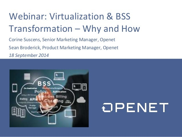 Webinar: Virtualization & BSS Transformation – Why and How Corine Suscens, Senior Marketing Manager, Openet Sean Broderick...