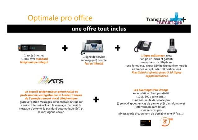 Optimale pro office 1 accès internet +1 Box avec standard téléphonique intégré 1 ligne de service (analogique) pour le fax...
