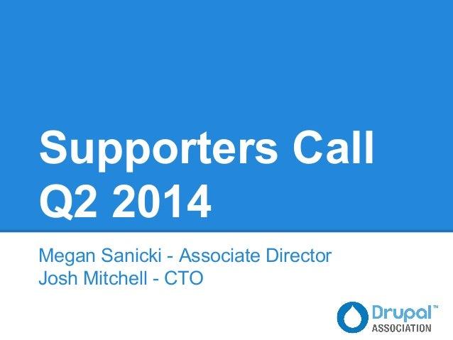 Supporters Call Q2 2014 Megan Sanicki - Associate Director Josh Mitchell - CTO