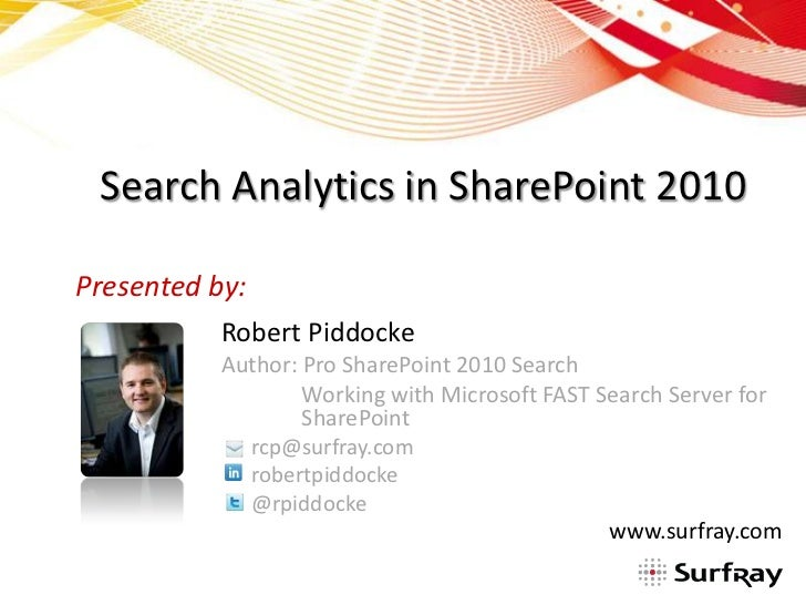 Search Analytics in SharePoint 2010Presented by:           Robert Piddocke           Author: Pro SharePoint 2010 Search   ...