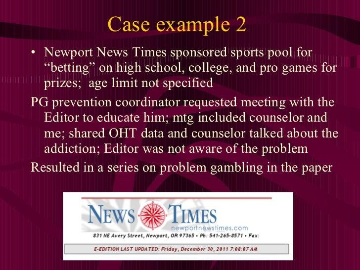 Problem gambling examples