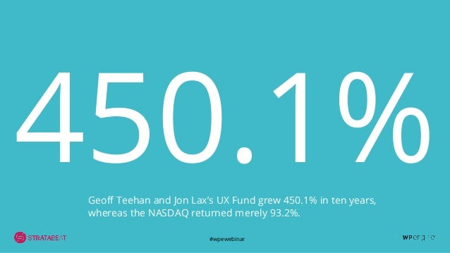 #wpewebinar 450.1%Geoff Teehan and Jon Lax's UX Fund grew 450.1% in ten years, whereas the NASDAQ returned merely 93.2%.