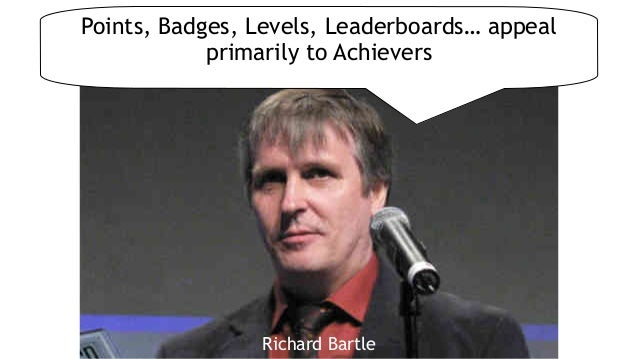 Jane McGonigalRichard Bartle Points, Badges, Levels, Leaderboards… appeal primarily to Achievers