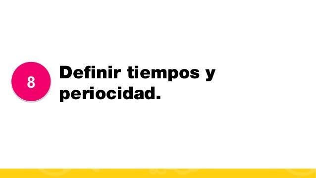 #FormaciónEBusiness 8 Definir tiempos y periocidad.