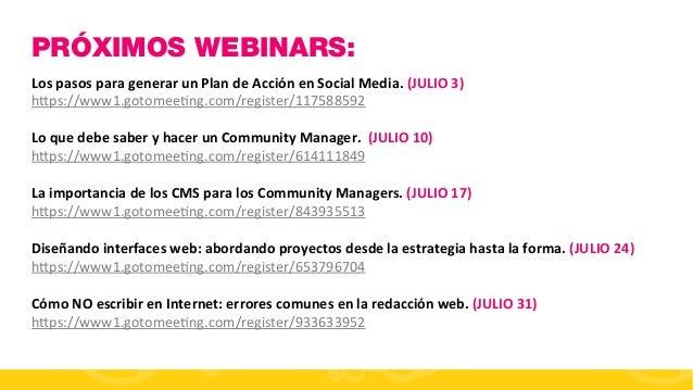 #FormaciónEBusiness PRÓXIMOS WEBINARS: Los  pasos  para  generar  un  Plan  de  Acción  en  Social  Me...