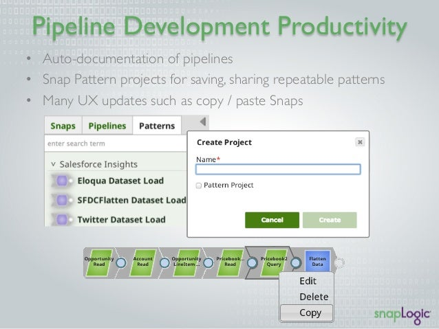 Pipeline Development Productivity  • Auto-documentation of pipelines  • Snap Pattern projects for saving, sharing repeatab...