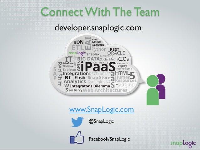 Connect With The Team  developer.snaplogic.com  www.SnapLogic.com  @SnapLogic  Facebook/SnapLogic
