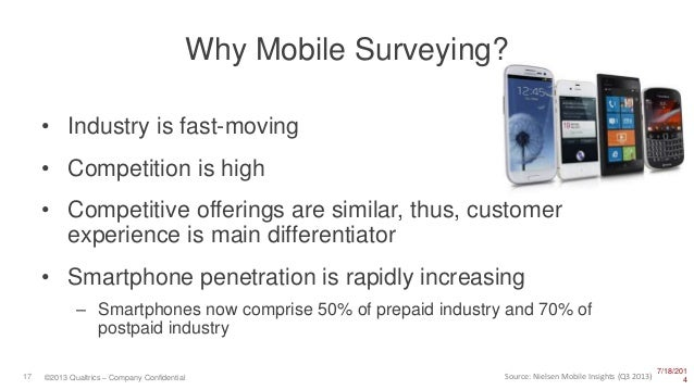7/18/201 417 ©2013 Qualtrics – Company Confidential Why Mobile Surveying? • Industry is fast-moving • Competition is high ...