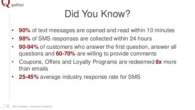©2014 Qualtrics – Company Confidential Did You Know? • 90% of text messages are opened and read within 10 minutes • 98% of...