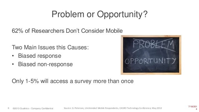 7/18/201 48 ©2013 Qualtrics – Company Confidential Problem or Opportunity? 62% of Researchers Don't Consider Mobile Two Ma...