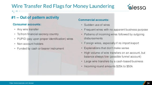 https://www.caseware.com/alessa/ 34 Wire Transfer Red Flags for Money Laundering Commercial accounts: • Sudden use of wire...