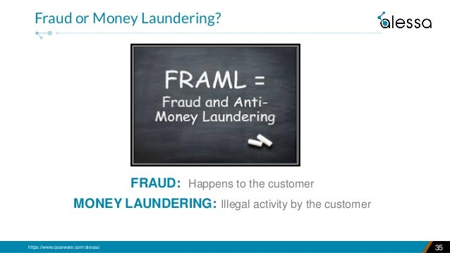 https://www.caseware.com/alessa/ FRAUD: Happens to the customer MONEY LAUNDERING: Illegal activity by the customer 35 Frau...