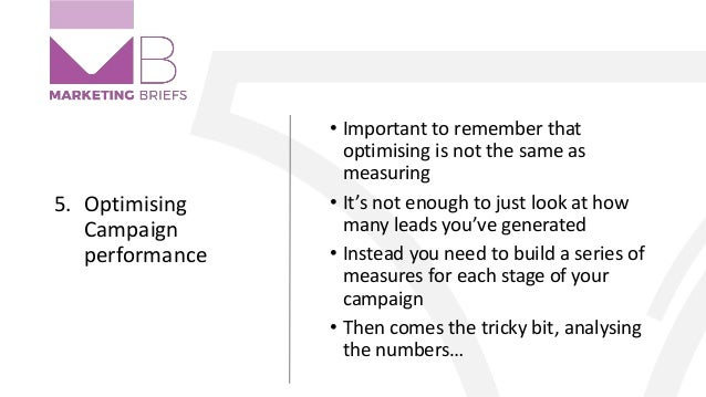 5. Optimising Campaign performance • Important to remember that optimising is not the same as measuring • It's not enough ...