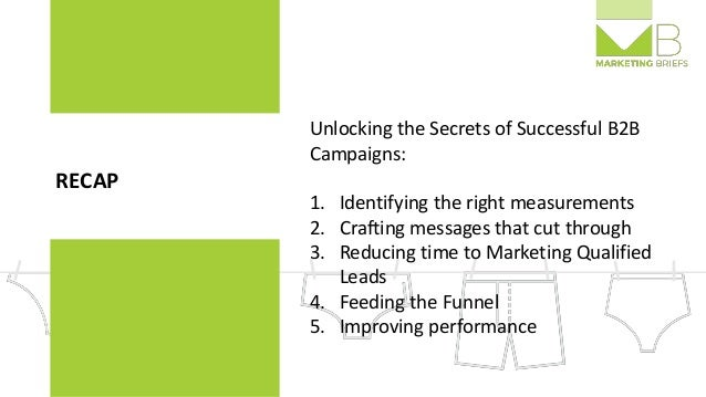 RECAP Unlocking the Secrets of Successful B2B Campaigns: 1. Identifying the right measurements 2. Crafting messages that c...