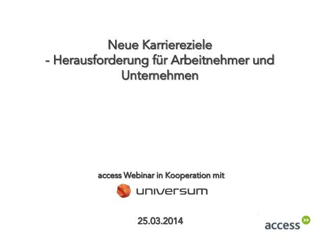 Neue Karriereziele - Herausforderung für Arbeitnehmer und Unternehmen 25.03.2014 access Webinar in Kooperation mit