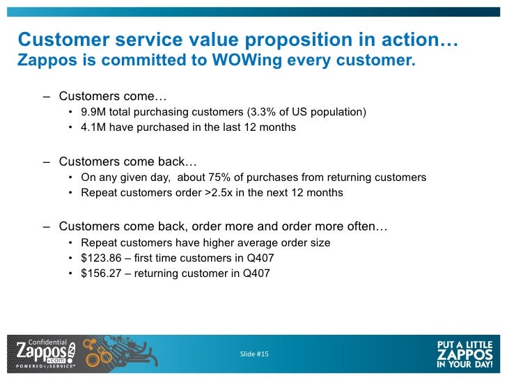 Customer service value proposition in action… Zappos is committed to WOWing every customer. <ul><ul><li>Customers come… </...