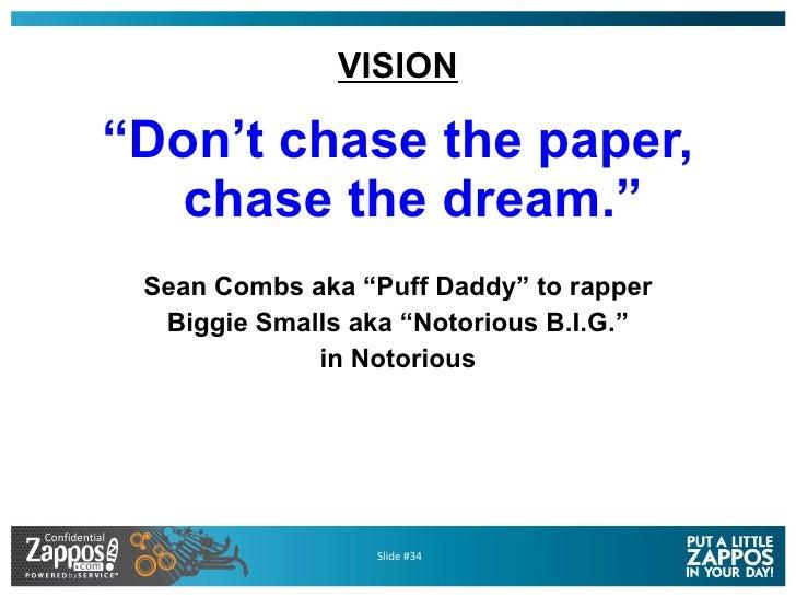 "VISION <ul><li>"" Don't chase the paper, chase the dream."" </li></ul><ul><li>Sean Combs aka ""Puff Daddy"" to rapper </li></u..."