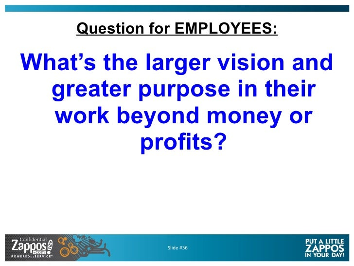 Question for EMPLOYEES: <ul><li>What's the larger vision and greater purpose in their work beyond money or profits? </li><...