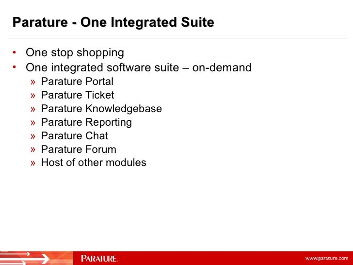 <ul><li>One stop shopping </li></ul><ul><li>One integrated software suite – on-demand </li></ul><ul><ul><li>Parature Porta...