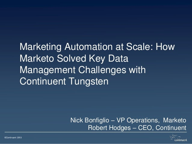 ©Continuent 2013 Marketing Automation at Scale: How Marketo Solved Key Data Management Challenges with Continuent Tungsten...