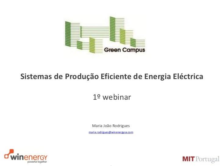 Sistemas de Produção Eficiente de Energia Eléctrica                     1º webinar                     Maria João Rodrigue...