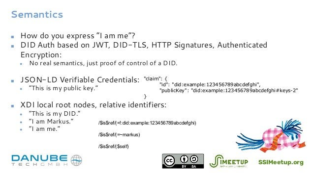 """Semantics ■ How do you express """"I am me""""? ■ DID Auth based on JWT, DID-TLS, HTTP Signatures, Authenticated Encryption: ● N..."""