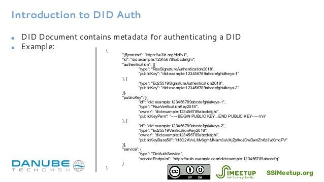 """Introduction to DID Auth ■ DID Document contains metadata for authenticating a DID ■ Example: { """"@context"""": """"https://w3id...."""