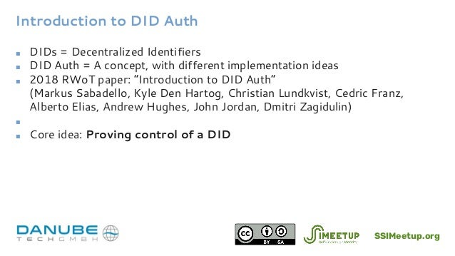 Introduction to DID Auth for SSI with Markus Sabadello