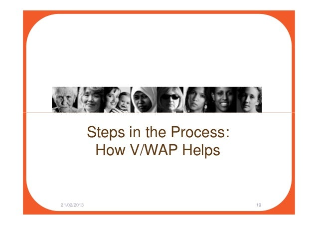 Steps in the Process: How V/WAP Helps 21/02/2013 19