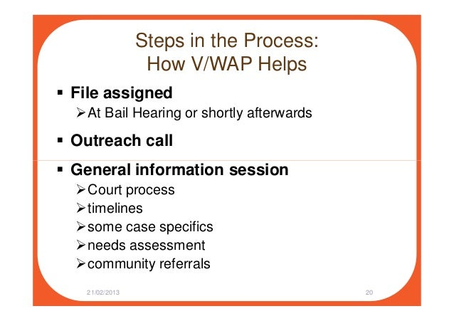 Steps in the Process: How V/WAP Helps File assigned At Bail Hearing or shortly afterwards Outreach call General informatio...