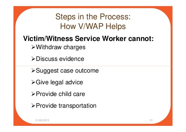 Steps in the Process: How V/WAP Helps Victim/Witness Service Worker cannot: Withdraw charges Discuss evidence Suggest case...