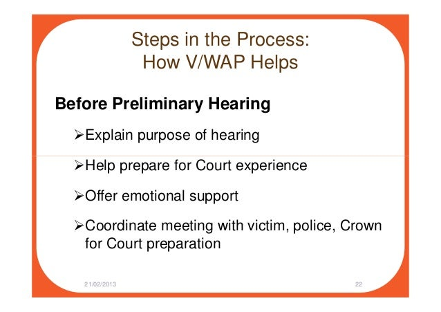 Steps in the Process: How V/WAP Helps Before Preliminary Hearing Explain purpose of hearing Help prepare for Court experie...
