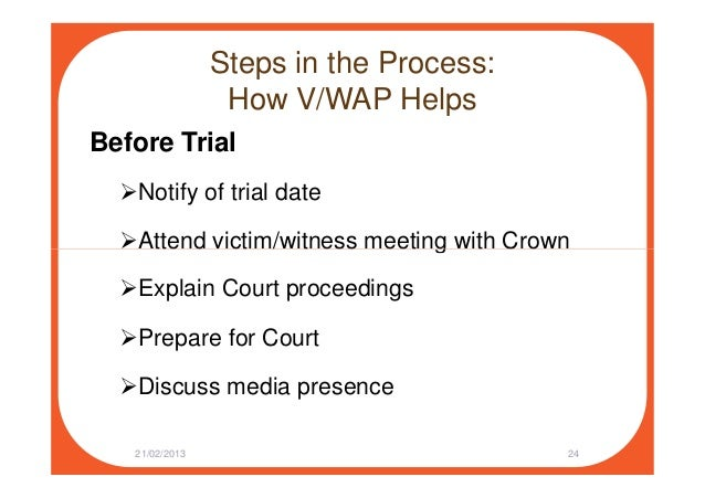 Steps in the Process: How V/WAP Helps Before Trial Notify of trial date Attend victim/witness meeting with CrownAttend vic...