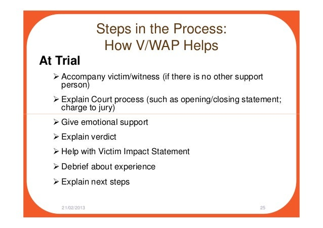 Steps in the Process: How V/WAP Helps At Trial Accompany victim/witness (if there is no other support person) Explain Cour...