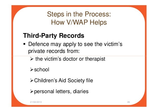 Steps in the Process: How V/WAP Helps Third-Party Records Defence may apply to see the victim's private records from: the ...