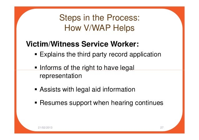Steps in the Process: How V/WAP Helps Victim/Witness Service Worker: Explains the third party record application Informs o...
