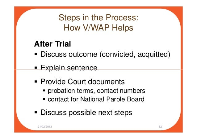 Steps in the Process: How V/WAP Helps After Trial Discuss outcome (convicted, acquitted) Explain sentenceExplain sentence ...