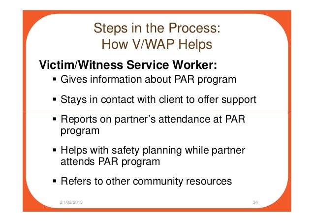 Steps in the Process: How V/WAP Helps Victim/Witness Service Worker: Gives information about PAR program Stays in contact ...
