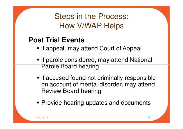Steps in the Process: How V/WAP Helps Post Trial Events if appeal, may attend Court of Appeal if parole considered, may at...